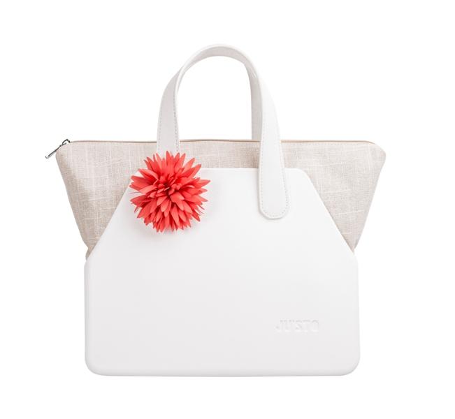 J-SETT bianca con sacca naturale lurex+manici corti in ecopelle bianca e fiore salmone by JU'STO