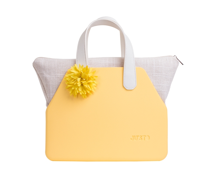 J-SETT giallo+sacca naturale lurex+manici corti ecopelle avorio+fiore giallo by JU'STO
